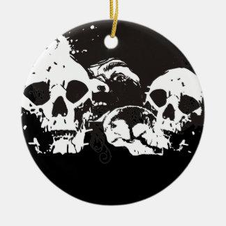 Black & White Grunge Skulls Ceramic Ornament