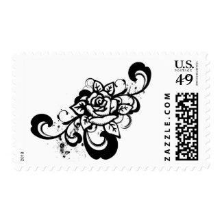 Black white grunge swirl rose design stamps