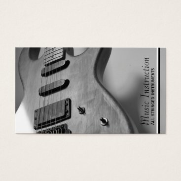 Professional Business Black White Guitar Music Business Card