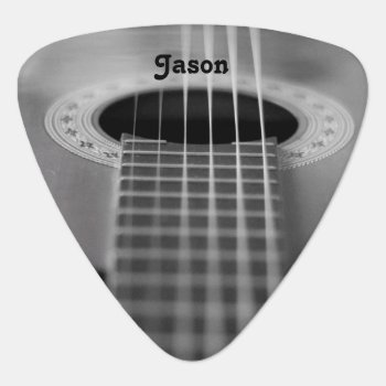 Black & White Guitar Photograph Guitar Pick by Lilleaf at Zazzle