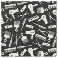 Black White Hair Tool Silhouette Pattern Fabric