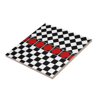 Black White Half Diamond Checkers Ceramic Tile