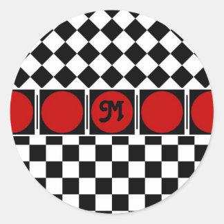 Black White Half Diamond Checkers Classic Round Sticker