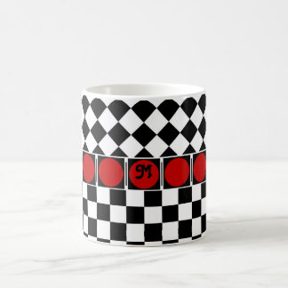 Black White Half Diamond Checkers Coffee Mug