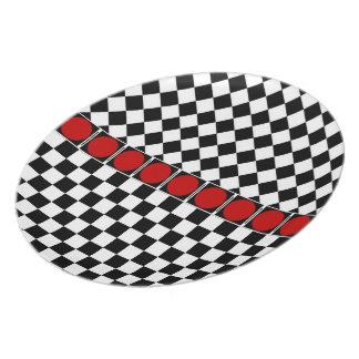 Black White Half Diamond Checkers Dinner Plate
