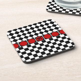 Black White Half Diamond Checkers Drink Coaster
