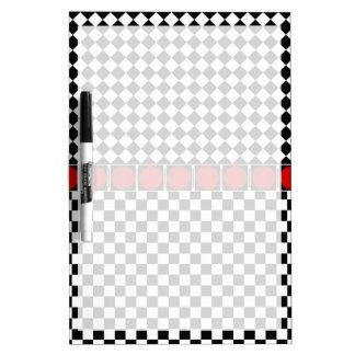 Black White Half Diamond Checkers Dry Erase Board