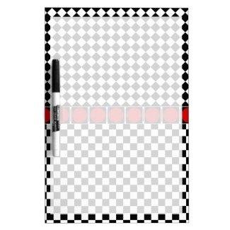 Black White Half Diamond Checkers Dry Erase White Board