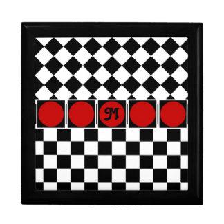 Black White Half Diamond Checkers Keepsake Box