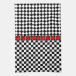 Black White Half Diamond Checkers Kitchen Towel
