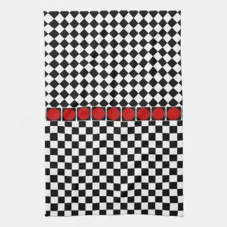 Black White Half Diamond Checkers Kitchen Towels