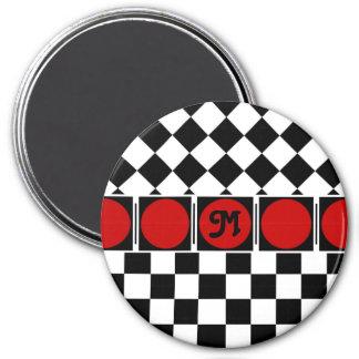 Black White Half Diamond Checkers Magnet