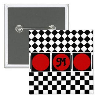 Black White Half Diamond Checkers Pinback Button