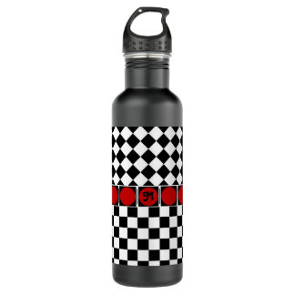 Black White Half Diamond Checkers Stainless Steel Water Bottle