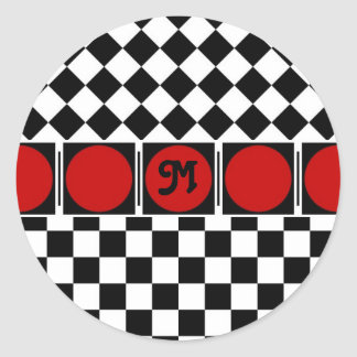 Black White Half Diamond Checkers Sticker