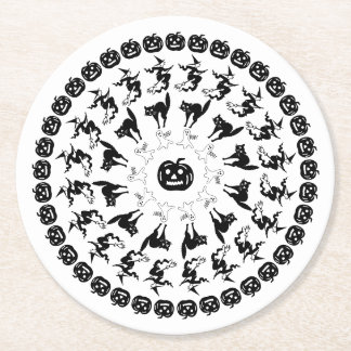 Black/White Halloween Fun Font Art Circles Pattern Round Paper Coaster