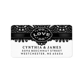 Black White Halloween Lace Wedding LOVE Address