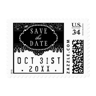 Black White Halloween Lace Wedding Save the Date Postage Stamp