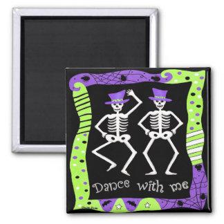 Black White Halloween Skeleton Bones Dance 2 Inch Square Magnet