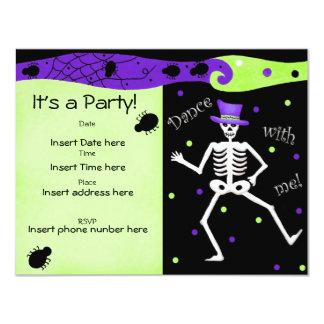 Black White Halloween Skeleton Bones Dance 4.25x5.5 Paper Invitation Card