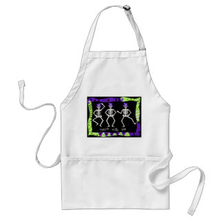 Black White Halloween Skeleton Bones Dance Aprons