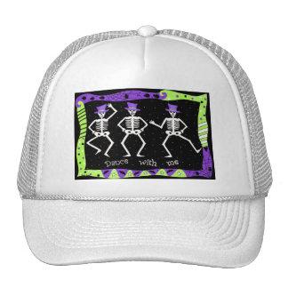 Black White Halloween Skeleton Bones Dance Trucker Hats