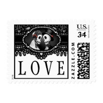 Black White Halloween Skeletons Wedding LOVE Postage