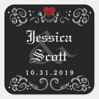 Black White Halloween Skeletons Wedding Names Date
