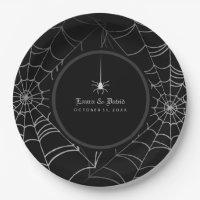 Black & White Halloween Spider Web Wedding Paper Plate
