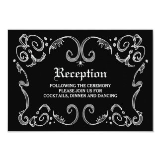 Black & White Halloween Wedding 3.5x5 Reception Invitation