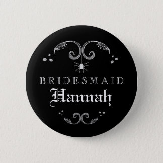 Black & White Halloween Wedding Bridesmaid Button
