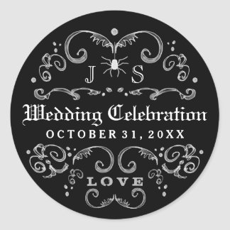 Black & White Halloween Wedding Celebration Gothic Classic Round Sticker