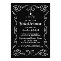 Black White Halloween Wedding Gothic Bridal Shower Invitation