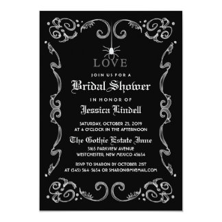 Black White Halloween Wedding Gothic Bridal Shower Invitation