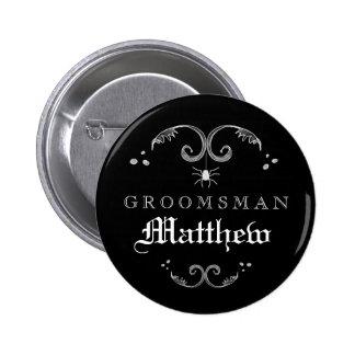 Black & White Halloween Wedding Groomsman Pinback Button