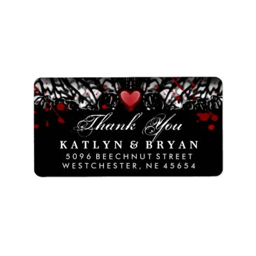 Halloween Themed Black & White Halloween Wedding Heart Thank You Label