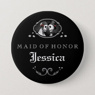 Black White Halloween Wedding Maid of Honor Button