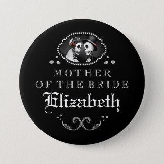 Black White Halloween Wedding Mother of Bride Pinback Button