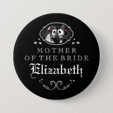 Halloween Themed Black White Halloween Wedding Mother of Bride Pinback Button