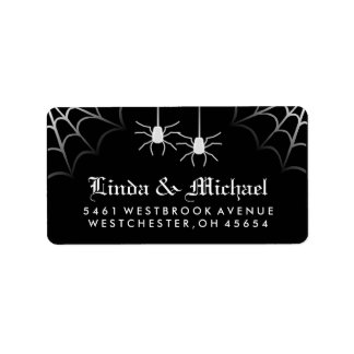 Black White Halloween Wedding Spiders Web Address Label
