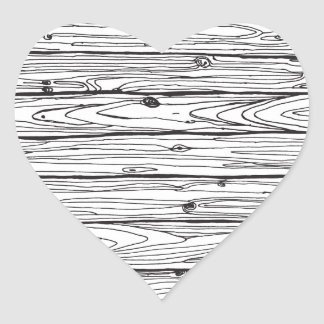 Black & White Hand Drawn Rustic Wood Faux Bois Heart Sticker