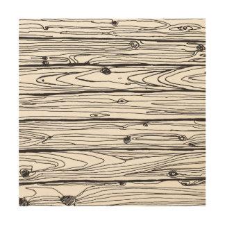 Black & White Hand Drawn Rustic Wood Faux Bois Wood Print