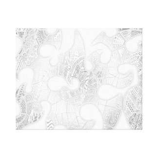 Black/White Hand-drawn Tribal Crazy Doodle Canvas Print
