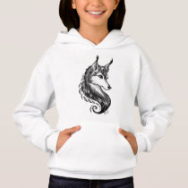 Black White Hand Drawn Wolf Kid's Hoodie