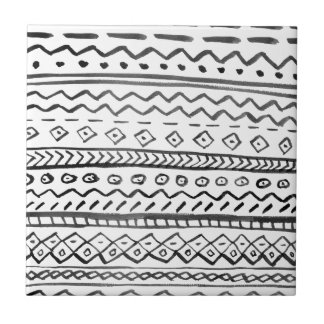 Black white hand made watercolor aztec pattern tile