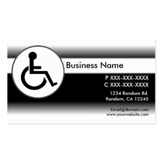 Black white handicapped symbol business cards