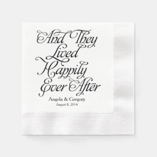 Black White Happily Ever After Wedding Coined Cocktail Napkin