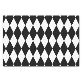 "Black White Harlequin Pattern 10"" X 15"" Tissue Paper"
