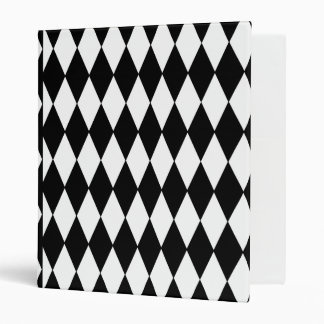 Black White Harlequin Pattern Vinyl Binder