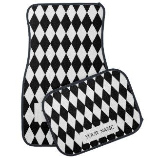 Black White Harlequin Pattern Car Floor Mat